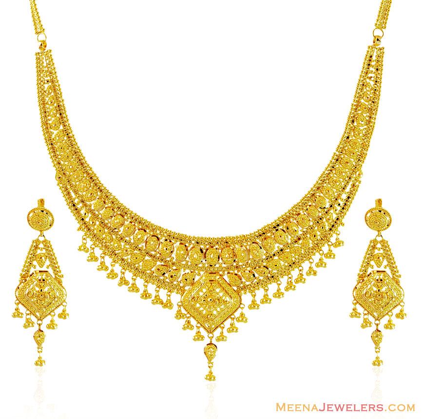 22k traditional necklace set stls15413 22k gold
