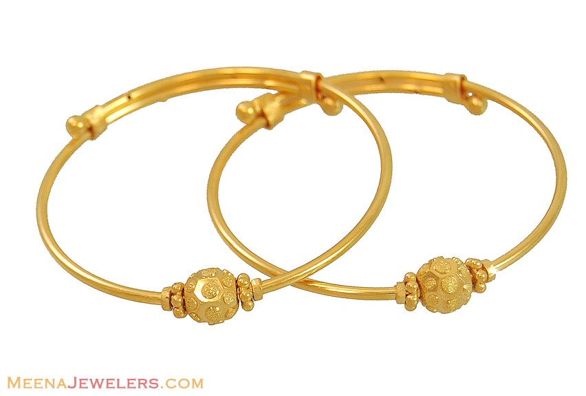 Indian Gold Bangles (for Kids) - BjBa10080 - 22k yellow ...