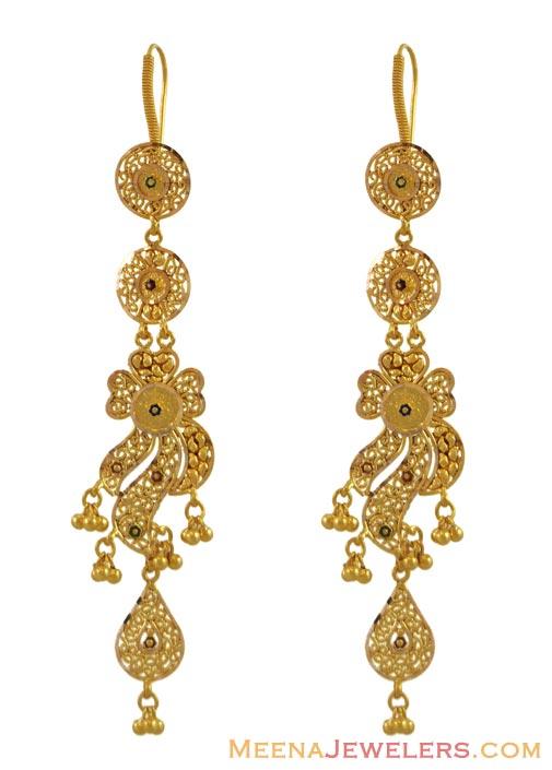 Long earring designs making