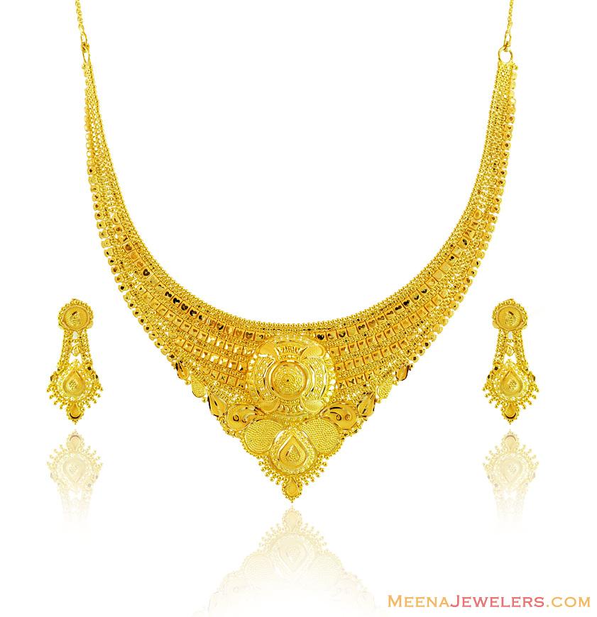 22k gold necklace earring set stgo14641 22k yellow