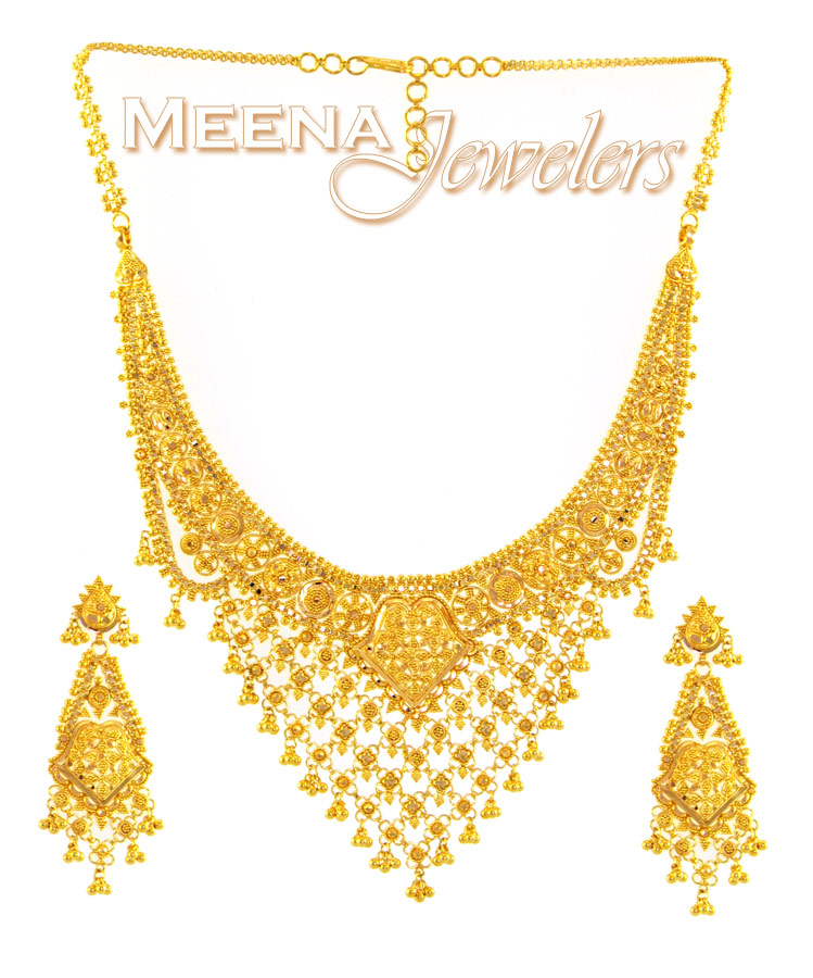 22kt gold jewelry set necklace and earrings stgo1623