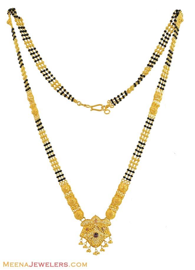 Gold Long Designer Mangalsutra With Meenakari And