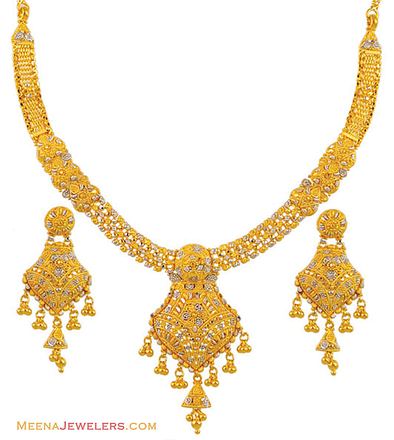 Gold Necklace And Earrings Set 22kt Indian Jewelry With: 22k Rhodium Necklace Set