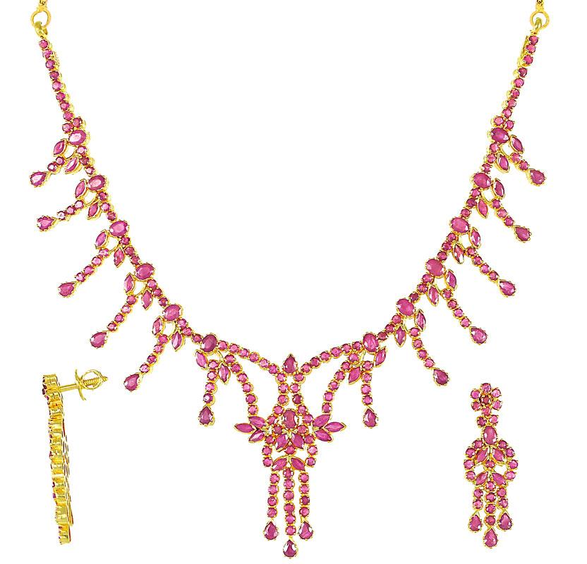 22k gold ruby necklace set psru2744 22k gold ruby