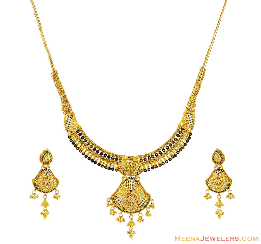 Gold Necklace And Earrings Set 22kt Indian Jewelry With: 22K Elegant Meenakari Necklace Set