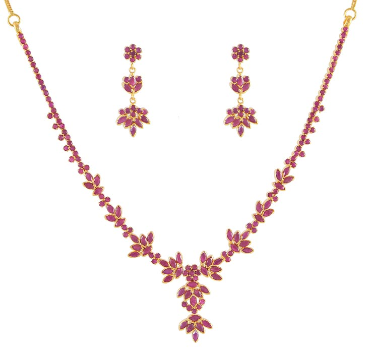 22k gold ruby designer necklace set psru4486 22k gold