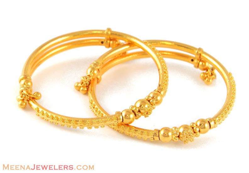 22kt Baby Jewelry (Bangles) - BjBa4838 - 22kt Gold Indian ...
