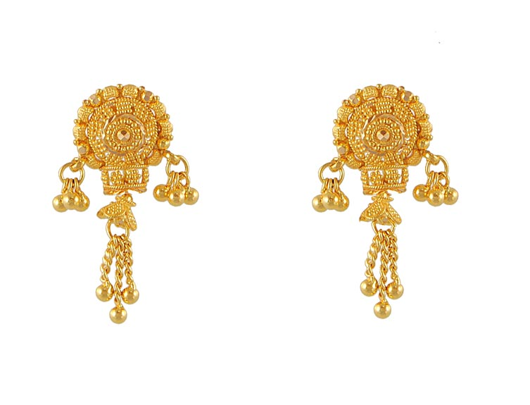 Fancy Earrings on 22kt Gold Fancy Earrings   Erfc4666   22kt Gold Fancy Earrings With