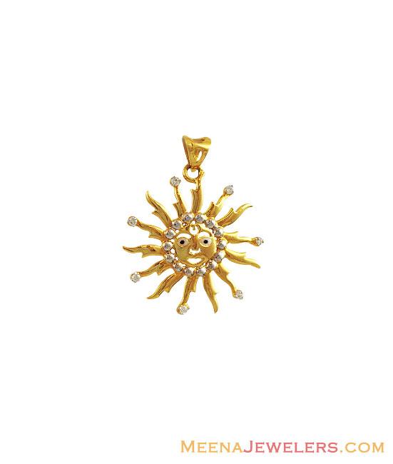 22k Fancy Sun Shape Pendant Pefc12070 22 Kt Gold Fancy