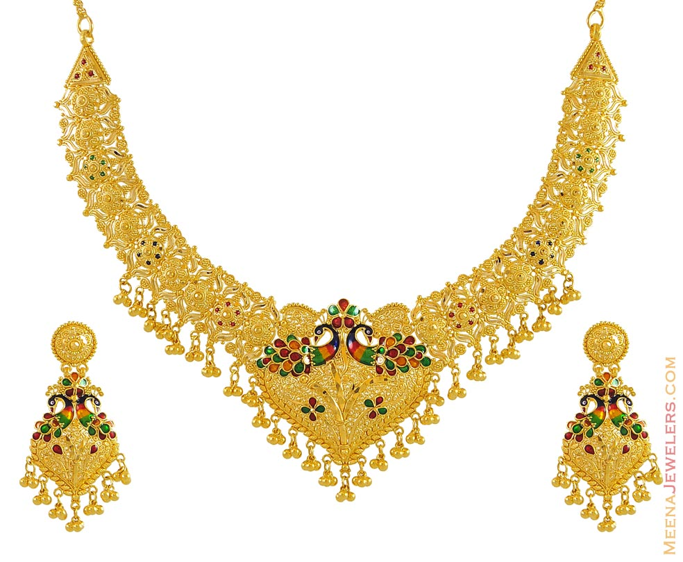22K Gold Set (Peacock design) - StGd9493 - 22K gold necklace and ...