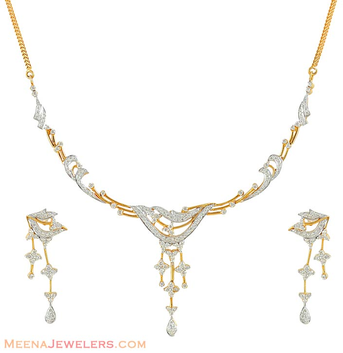 necklace and earrings set dins4997 18k gold