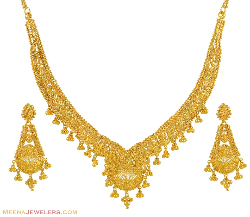 Gold Necklace And Earrings Set 22kt Indian Jewelry With: 22kt Plain Gold Set