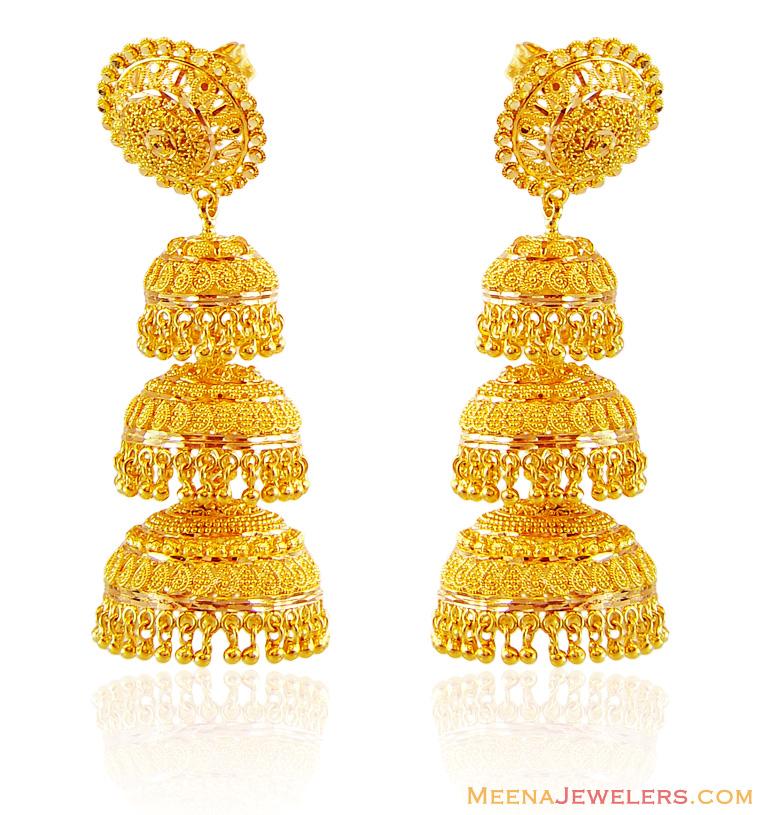 Pin 22k Gold Jhumka Earrings 22kt Gold Fancy Earrings on Pinterest