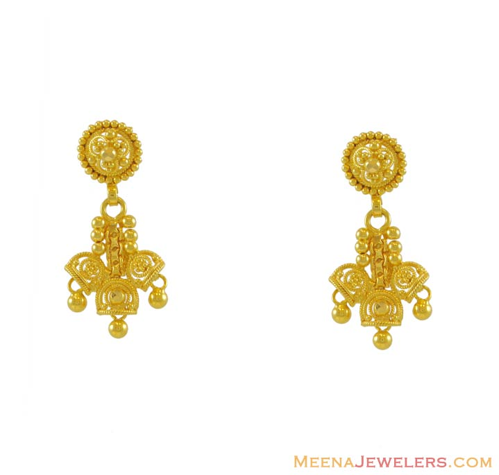 Design of gold earrings and ear tops