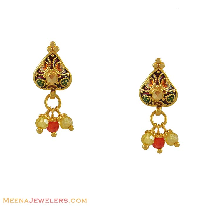 Fancy Earrings on 22k Earrings With Beads   22kt Gold Fancy Earrings