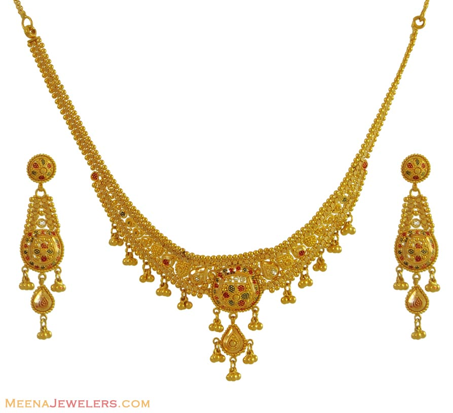Gold Necklace And Earrings Set 22kt Indian Jewelry With: Two Tone Indian Necklace Set