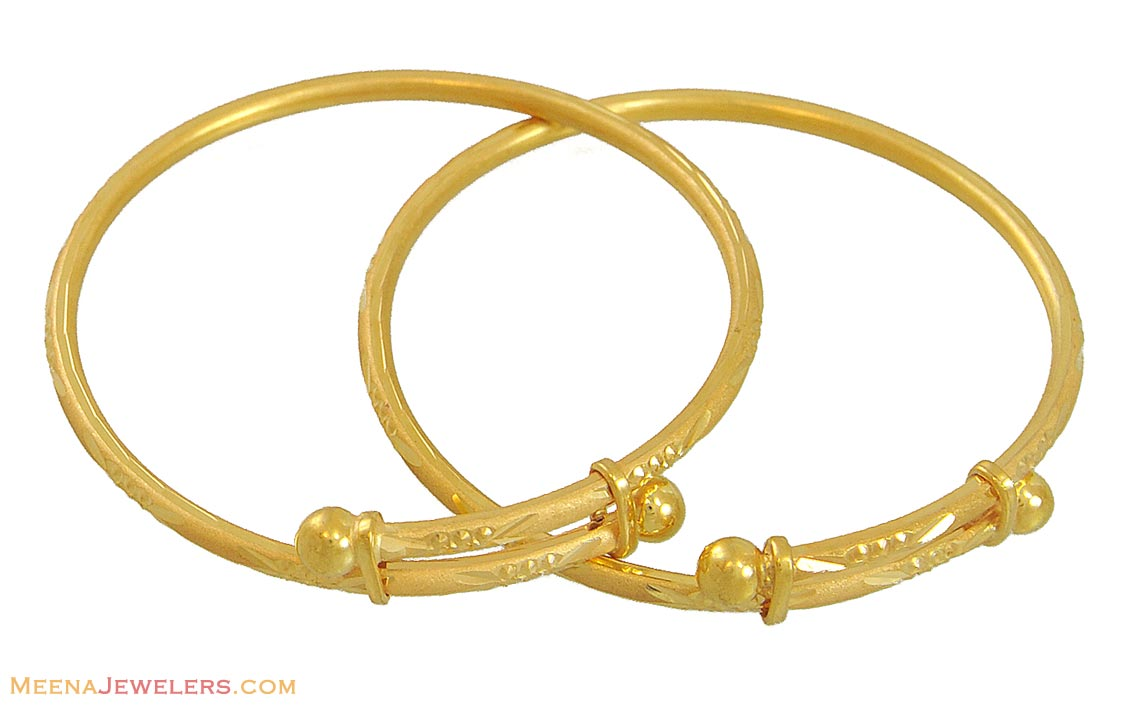 22k Gold Kids Bangles(2 pcs) - BjBa10491 - 22k gold kids ...