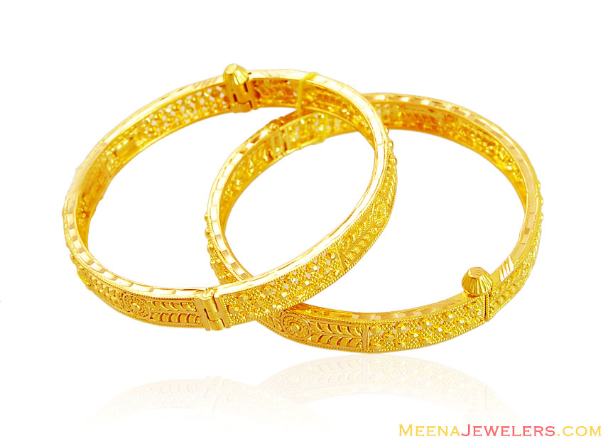 Fancy 22K Gold Kids Bangle (2 Pcs) - BjBa15603 - 22K Gold ...