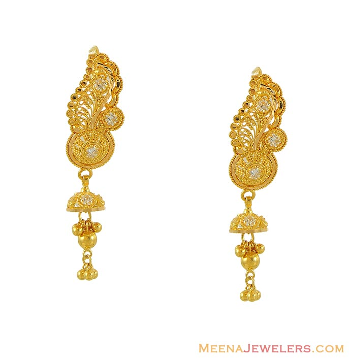 gold designer hanging earrings erfc8550 22kt gold