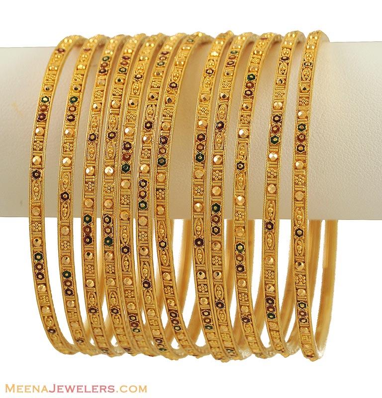 Indian Gold Bangles Set 12 Pcs