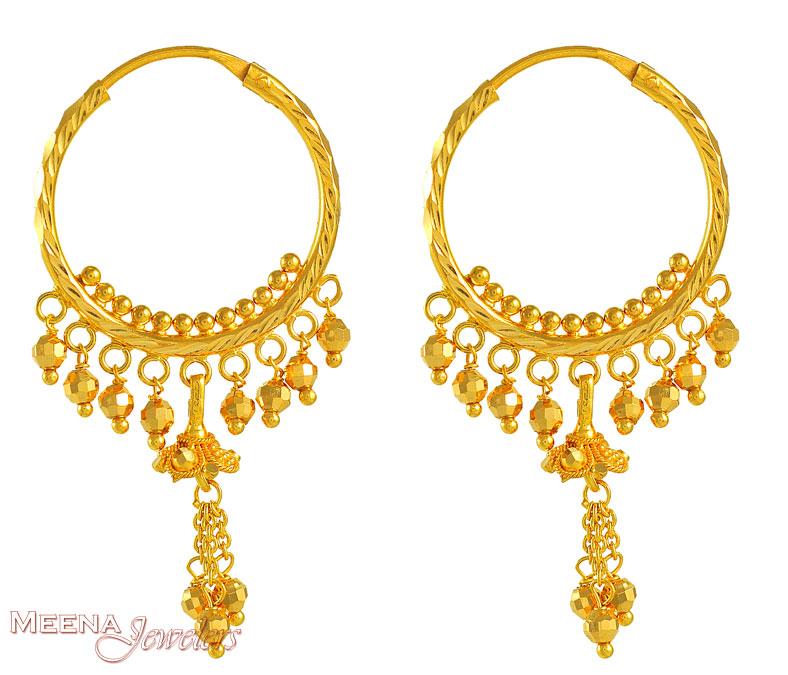 Gold Designer Hoops Erhp3601 22k Gold Designer Hoops