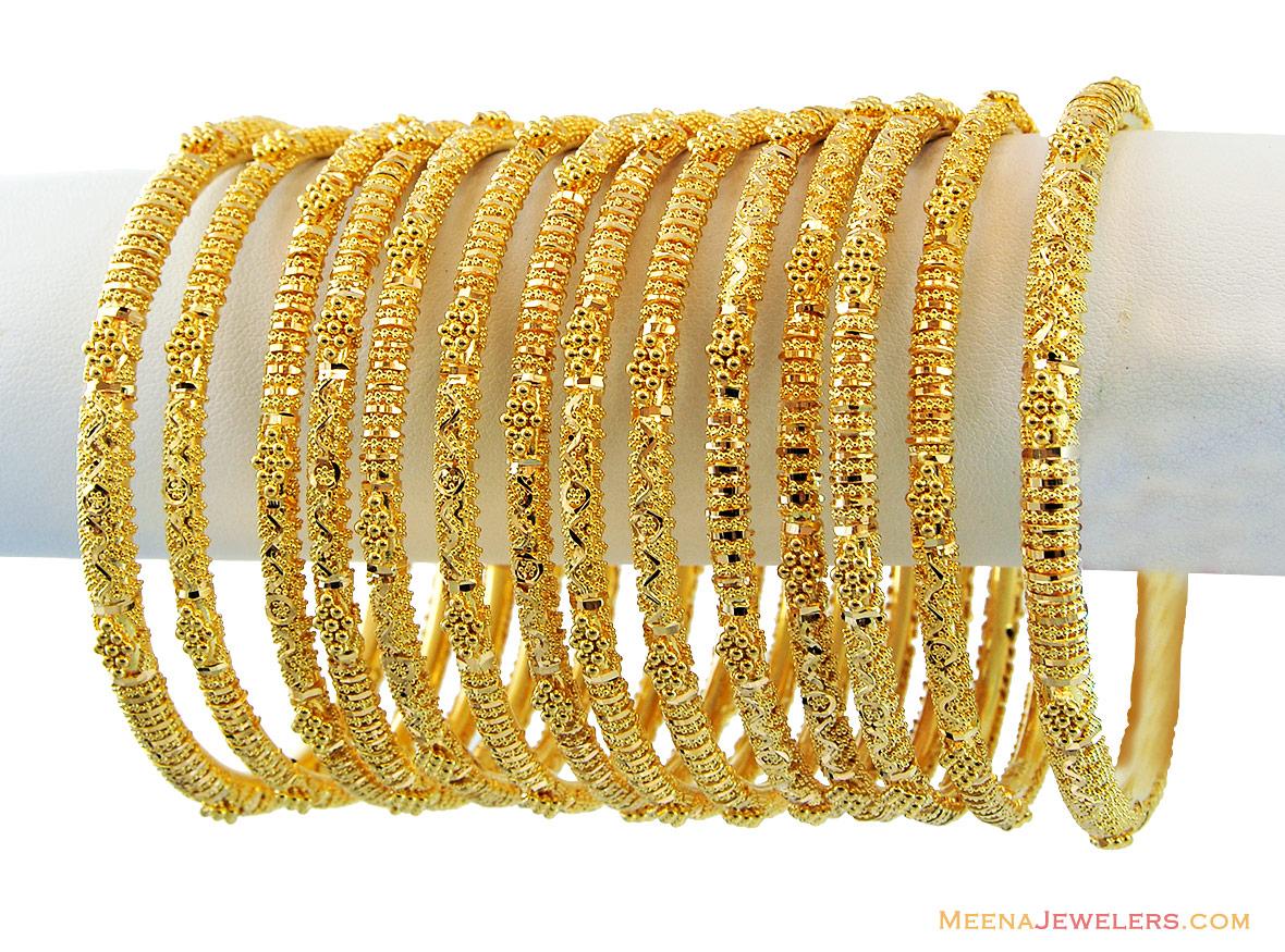 22k Filigree Bangles Set(Set of 14) - BaSt13045 - 22k gold ...