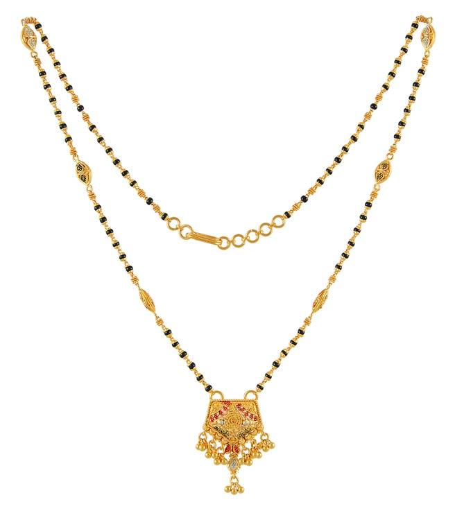 Multi Tone Mangalsutra - ChMs4467 - 22 Karat Gold Short ...