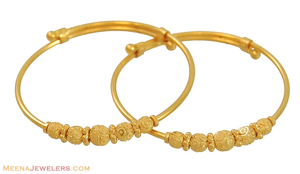 22K Gold Bangles (for Kids) - BaBy10078 - 22K Gold Bangles ...