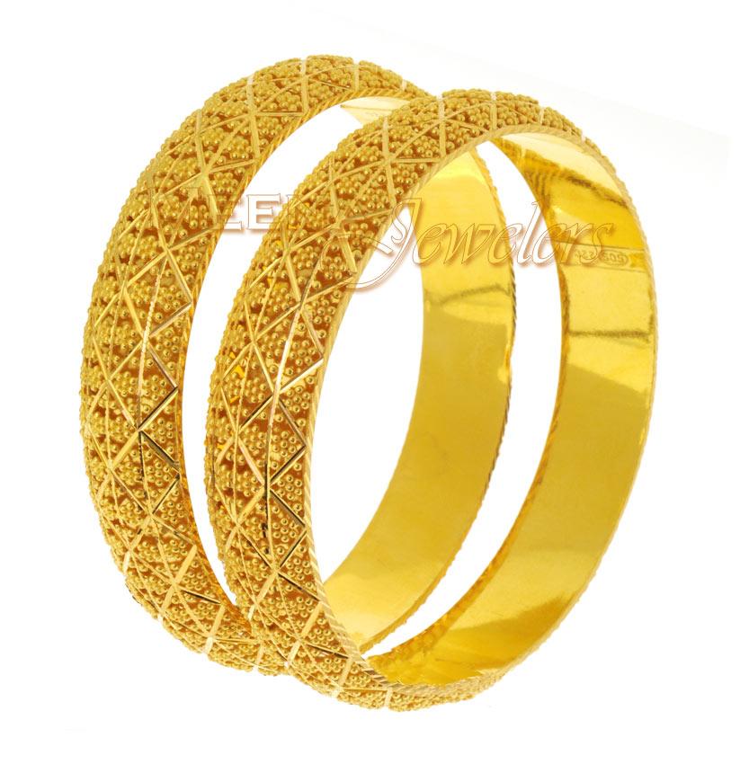 22K Gold Bangles (Kada) - BaKa1426 - 22Kt Gold Kadas (2 ...