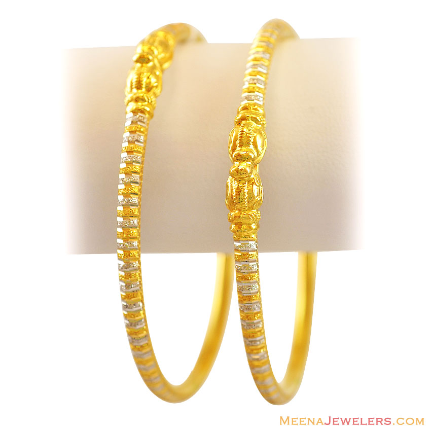 22K Gold 2 Tone Bangles - BaGo12120 - 22K Indian Gold ...