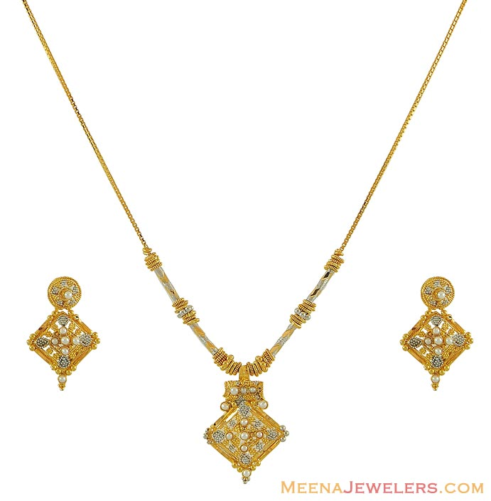 Gold Necklace And Earrings Set 22kt Indian Jewelry With: Indian Two Tone Necklace Set (22K)