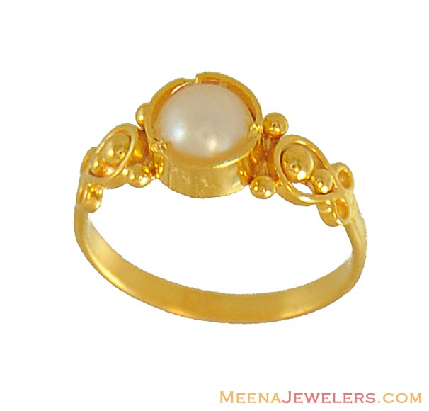 22k Baby Ring With Pearl Bjri7294