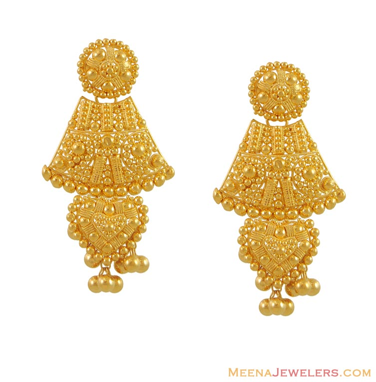 ruffle peach for women buy woman drop gold designs earrings jewellery lar