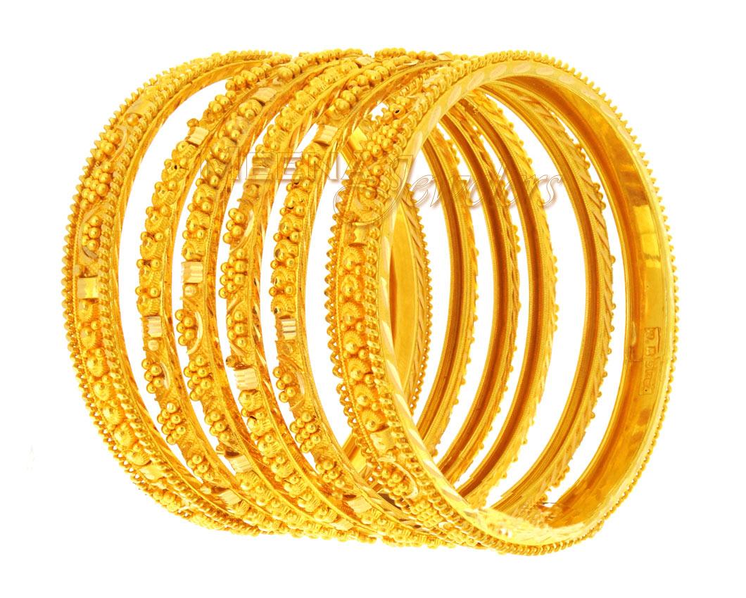 22Kt Gold Handmade Bangles - BaSt1401 - 22 Kt Gold ...