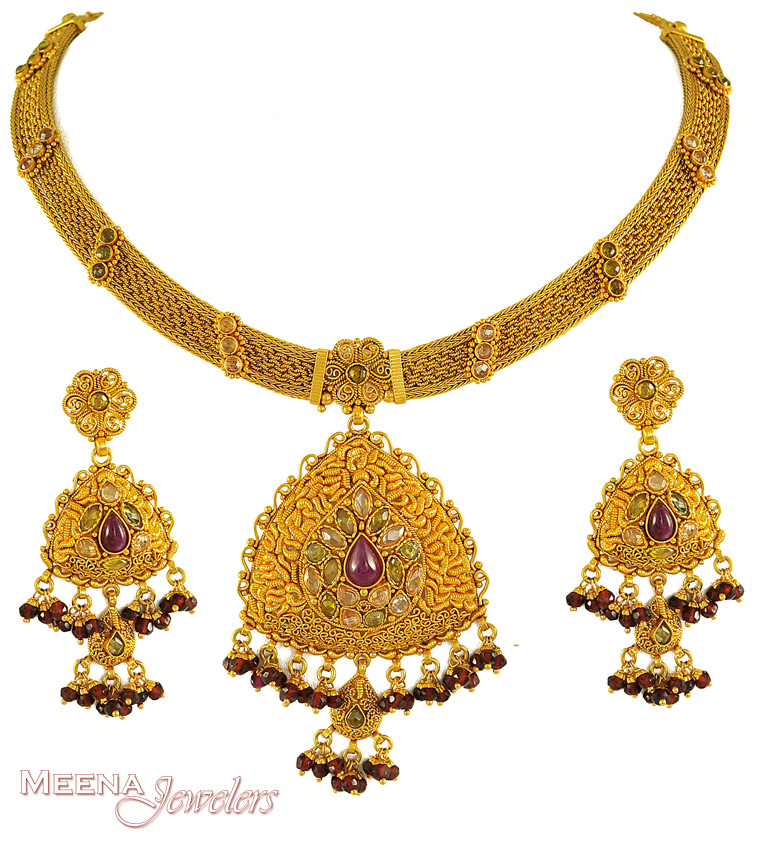 Gold antique necklace set images aloadofball Image collections