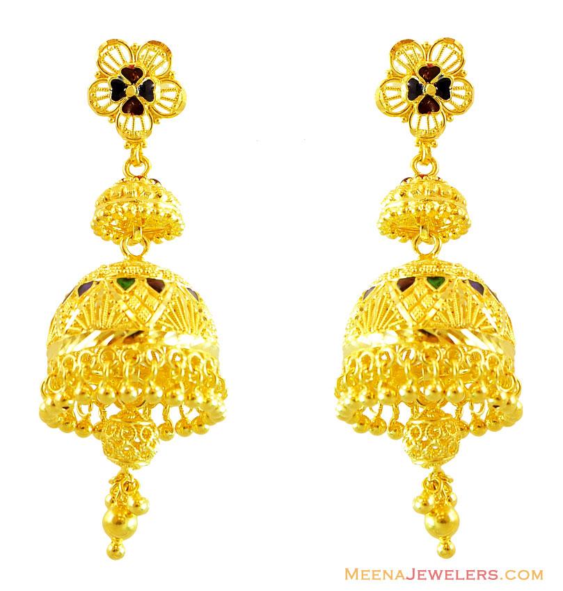 22kt Gold Jhumka Earrings 22kt Gold Fancy Earrings Pictures to pin ...