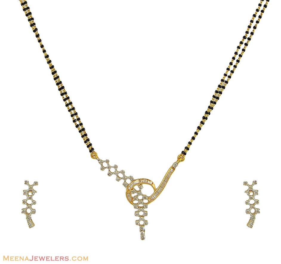 Designer Diamond Mangalsutra Set - DiMa10595 - 18Kt gold ...