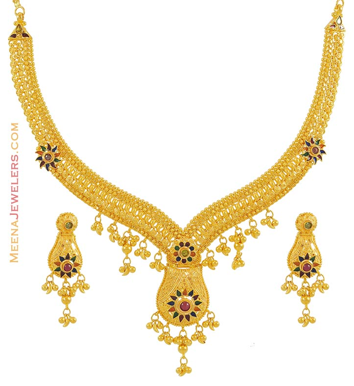 Gold Necklace And Earrings Set 22kt Indian Jewelry With: 22k Meenakari Necklace Set