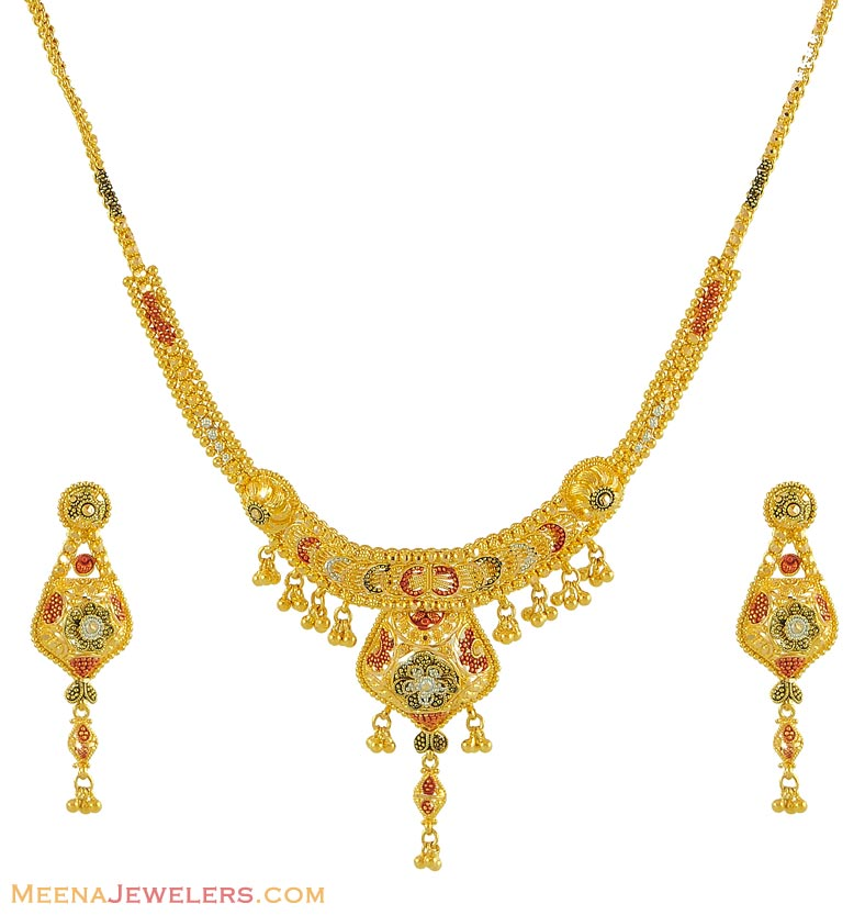 Gold Necklace And Earrings Set 22kt Indian Jewelry With: 22Kt MultiColor Gold