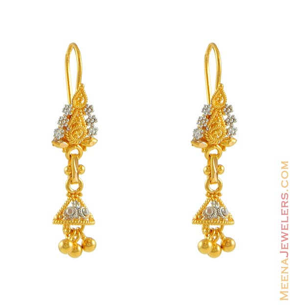 Fancy Earrings on Two Tone Earring  22k Gold    22kt Gold Fancy Earrings