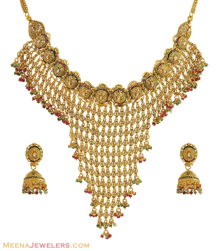 Gold Necklace And Earrings Set 22kt Indian Jewelry With: Indian Gold Chocker Set (22Kt)