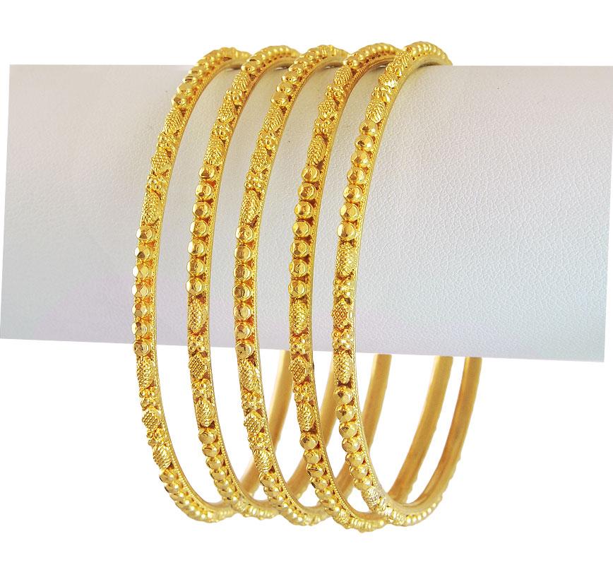 22k Gold Filigree Bangles (5 Pcs) - BaSt12367 - 22k gold ...