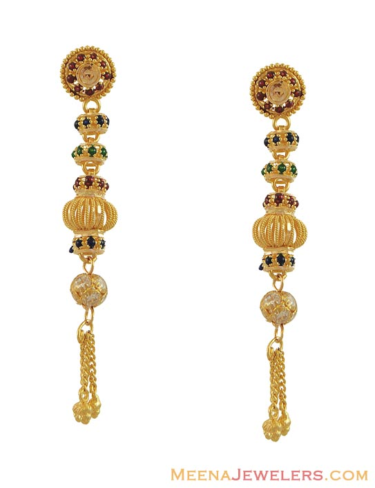 Indian Fancy Earrings (22K) - ErFc10147 - 22K Gold Earrings (indian ...