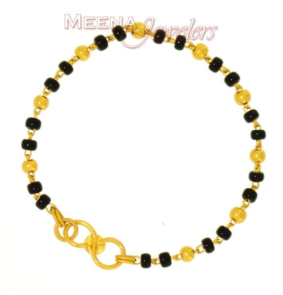 Baby Bracelet With Black Beads Bjbb2123 22kt Gold Baby