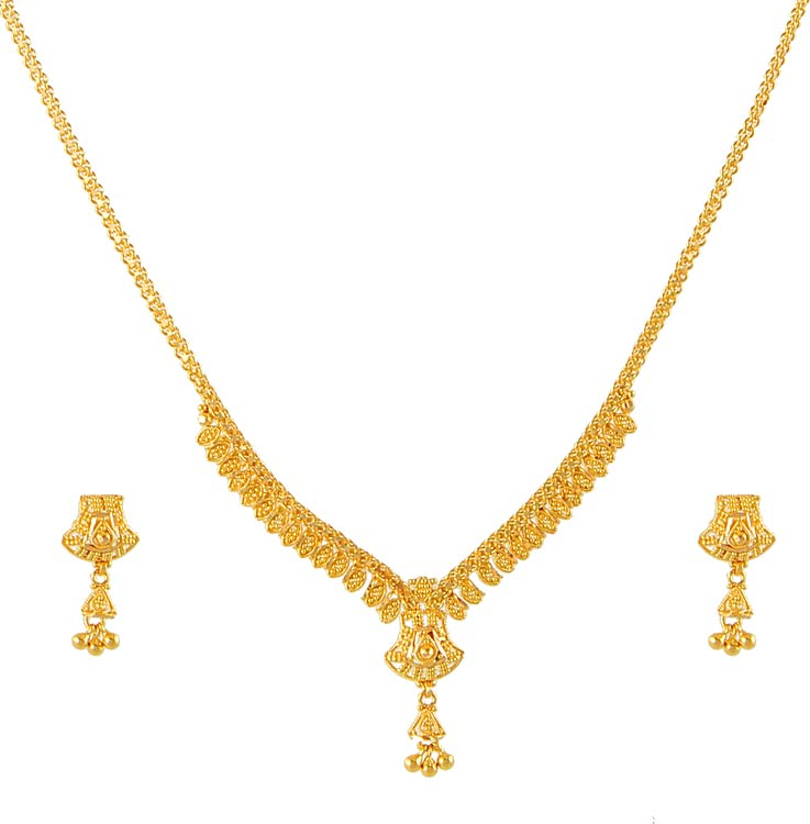 Gold Necklace And Earrings Set 22kt Indian Jewelry With: 22K Necklace And Earrings Set