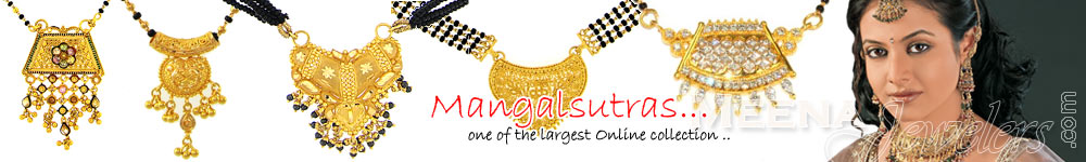 22 KT Gold MangalSutras (Chains With Black Beads)