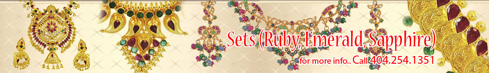 Precious Stone Gold Necklace Sets (Indian Designs)  | Ruby, Emerald, Sapphire, pearl and more