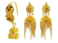 small indian earrings dangles fancy market with bright chain etsy jewelry gold beaded il domed