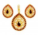 22K Gold Ruby Pendant set - Click here to buy online - 682 only..