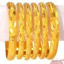 22K Gold Simple Bangles Set (6 PCs) - Click here to buy online - 4,720 only..